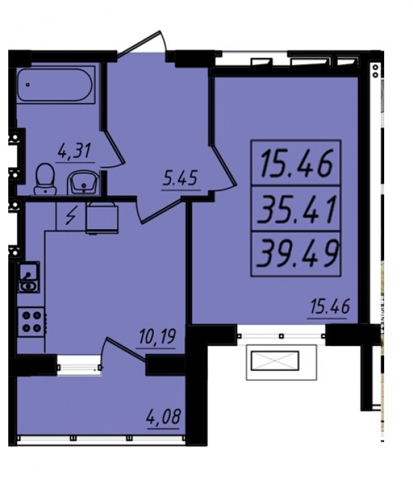 Планировки однокомнатных квартир 39.49 м^2
